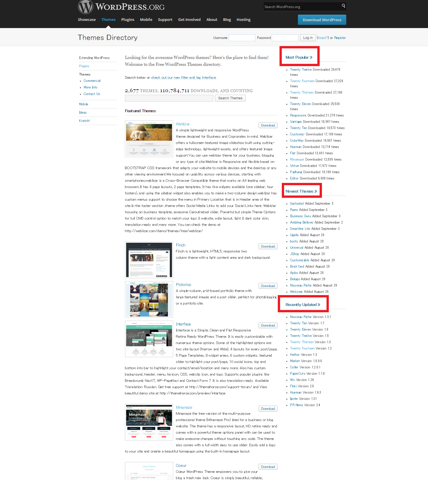 WordPress.orgでテーマを探す