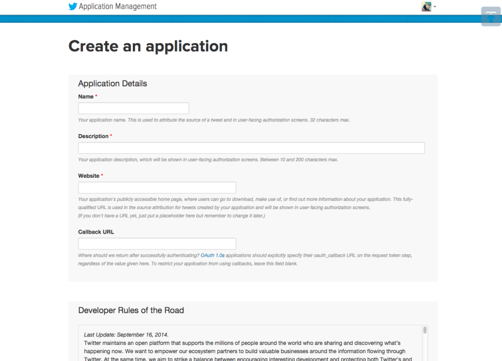 Create an application   Twitter Application Management