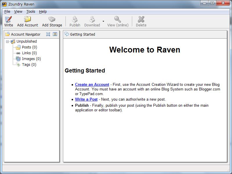 Zoundry Ravenのインターフェース